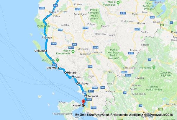 kalkış Tiran, Arnavutluk varış Ksamil, Arnavutluk - Google Haritalar - Google Chrome 26.08.2018 012200.jpg