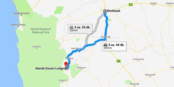 kalkış Windhoek, Namibya varış Namib Desert Lodge, Sesriem, Namibya - Google Haritalar - Google Chrome 09.08.2018 094035