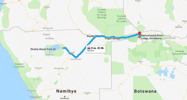 kalkış Etosha Ulusal Parkı, Namibya varış Namushasha River Lodge, Gondwana Collection Namibia - Google Haritalar - Google Chrome 6.10.2018 232612.jpg